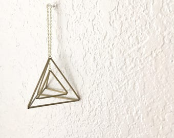 DIY Pattern Only: Geometric Tetrahedron Himmeli - Triangular Pyramid - Ornament - Airplant Mobile - Coffee Table Decor - Minimal Brass Dome