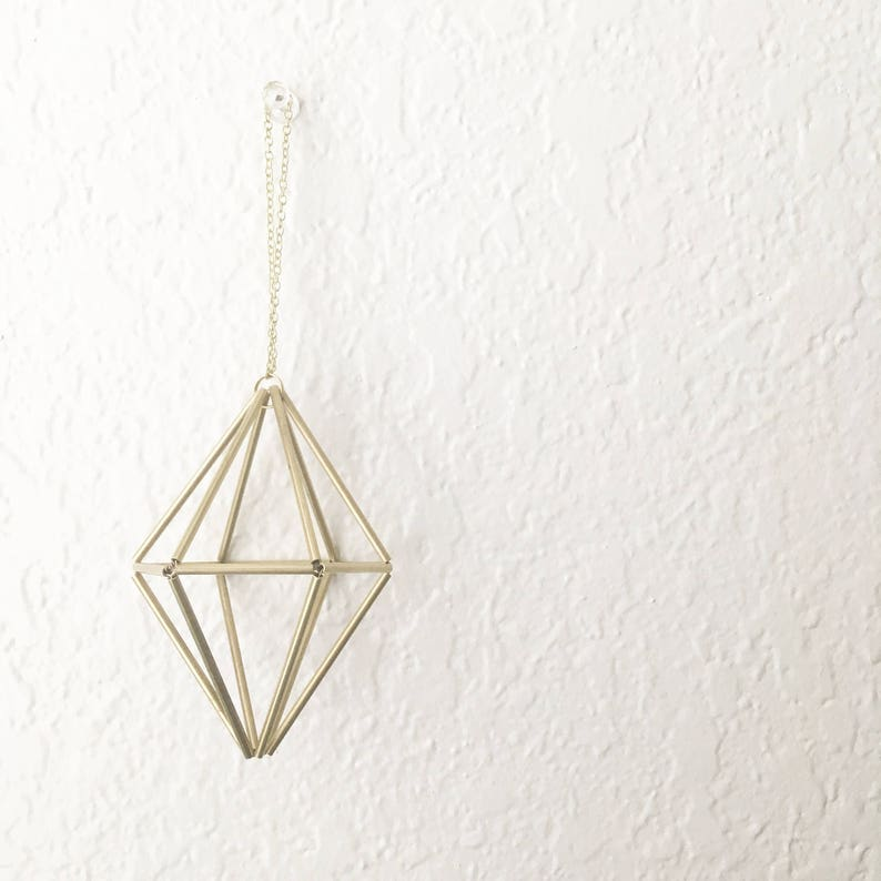 DIY Pattern Only: Geometric Hexagonal Bipyramid Himmeli - Holiday Ornament  - Airplant Mobile - Coffee Table Decor - Minimalist Brass Orb