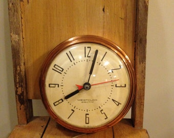 Vintage Kitchen Wall Clock/Westclox Spice Electric Wall Clock / Copper  /delta Second Hand