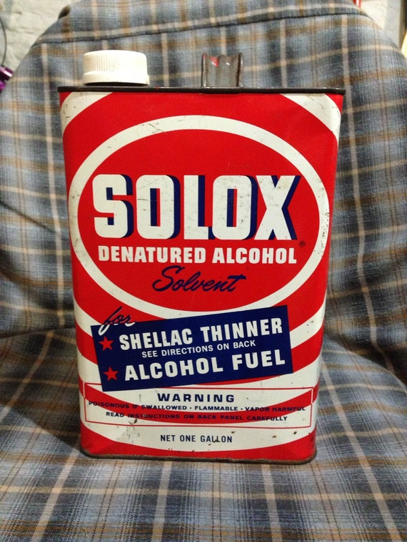 Vintage tin/ Solox denatured alcohol 1 gal  Collectible tin