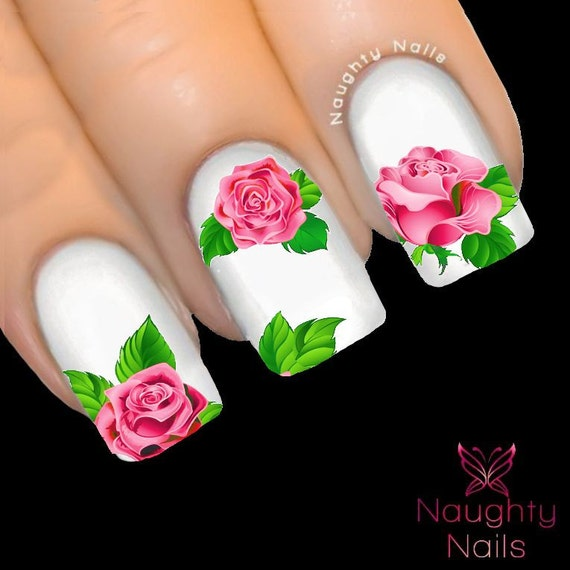 Majestic Light Pink Rose Nail Water Transfer Decal Sticker Art Etsy