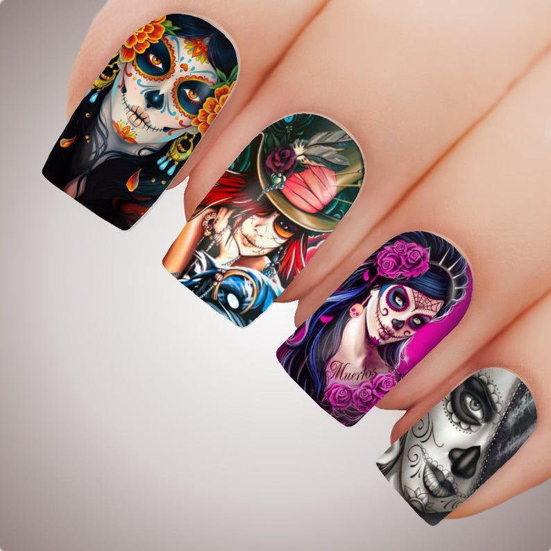 SUGAR SKULL  Halloween Day of the Dead Full Nail Decal Water image 0