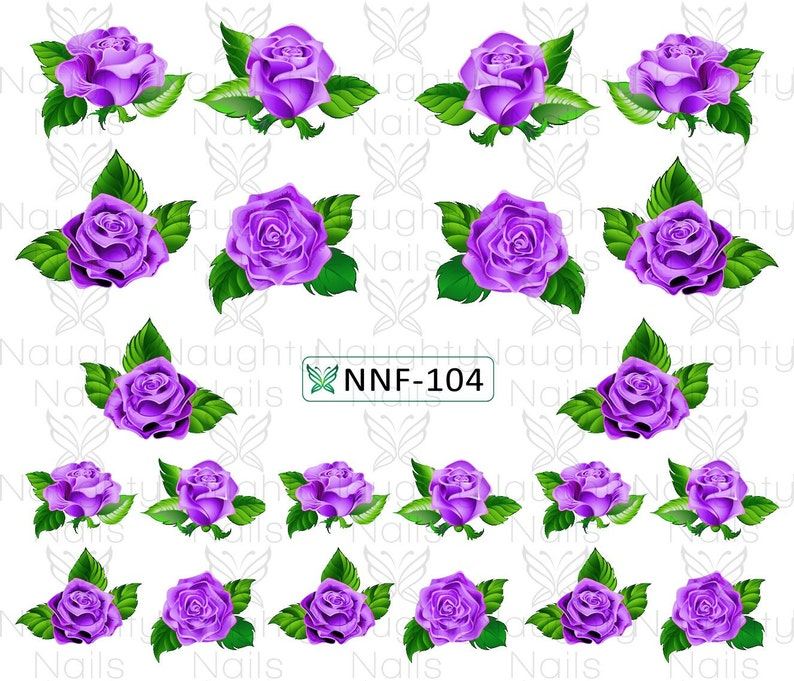Majestic Lavender Purple Rose Nail Water Transfer Decal Etsy