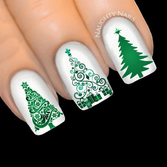 Emerald Stardust Chistmas Tree Nail Art Water Transfer Decal Etsy