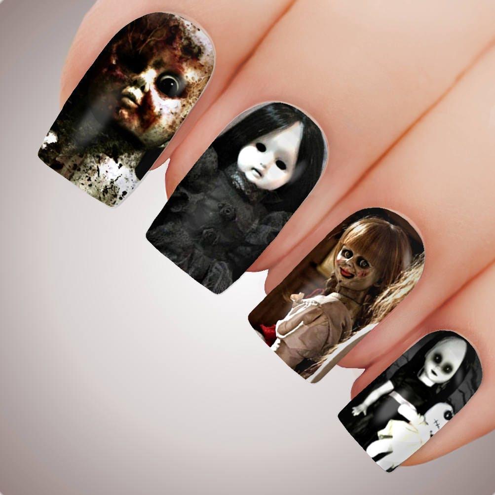 haunted doll scary halloween horror dolls full nail decal | etsy