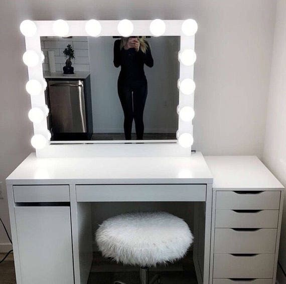 low shippinghollywood vanity mirror perfect for ikea etsy. Black Bedroom Furniture Sets. Home Design Ideas