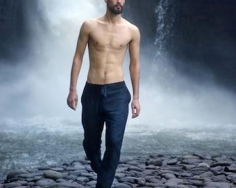 Natural mens linen pants, Symmer pants, Mens trousers, Pants for men, Lounge pants, Gift for him, Natural Black linen pants, Linen pants