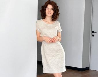Linen T-shirt Dress, Beige dress, Basic linen dress, Tunic dress, gift for women, Flax dress, Vocation dress, Beach dress