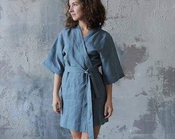 Handmade Linen Summer kimono Summer bathrobe Natural linen robe Bathrobe  Blue-grey kimono Linen dress Linen cape Linen jacket Gown sleepwear 6cb2cc3ff