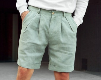 Mens linen shorts with Pleats, Pleated shorts, Shorts for men, Summer shorts, Olive color shorts, Mans organic clothes, Flax shorts