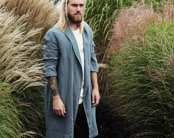 Linen robe, Natural laungewear, Blue grey kimono men, Hooded robe, Handmade cardigan, Linen coat, Linen loungewear, Flax robe, Spa robe