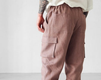 Mens linen cargo pants with side pockets,  Summer pants, Latte lounge pants, Work trousers, Gift for him, Beach pants, Yoga pants