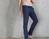 Mens linen pants Summer trousers Pants for men Natural linen Gift for him Mans organic pants Dark-blue pants Trousers for man Basic pants