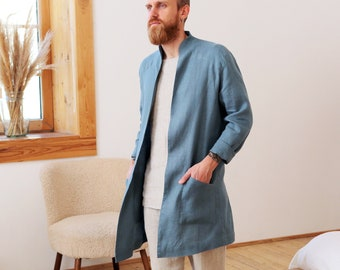 Mens linen trench coat, Linen jacket for man, Stylish flax trench, Wedding jacket, Gift for him, Handmade jacket