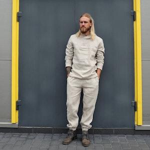 Linen costume Christmas gift  Man set Linen gown Linen trousers Linen pants Linen jacket Linen robe Wedding robe Linen t-shirt Man cardigan