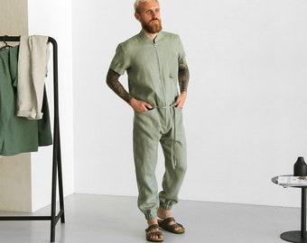 Mens linen jumpsuit, Mens overall, Mens romper, Jumpsuit for men, Green coveralls, Gift for him, Natural linen jumpsuit, Linen romper
