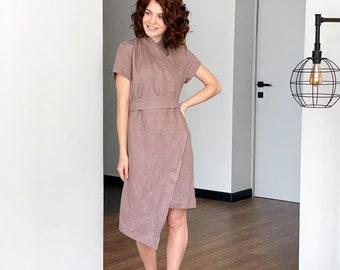 Linen Kimono dress, Summer dress, Raw Linen Kimono, Basic linen dress, Casual Dress, Women, Wrap Dress, Midi Dress, Latte dress