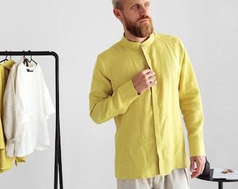 Mens linen shirt, Shirt for men, Wedding shirt, Yellow shirt, Band collar shirt, Classic shirt, Gift for him, Beach shirt