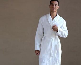 White Linen bathrobe, Men's natural laungewear,  Natural linen robe, Natural bathrobe, Gown for men, Wedding linen robe, Dressing gown