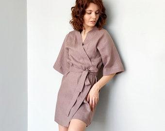 Short Linen kimono, Gift for her, Natural linen robe, Natural bathrobe, Linen jacket, Gown sleepwear, Bohemian cardigan, Sexy kimono