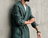 Linen robe for men Summer robe Green dressing gown Handmade bathrobe Jacket for man Mens robe Plus size Housecoat Gift for him For home