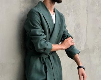 Linen robe for men, Natural laungewear, Green dressing gown, Handmade bathrobe, Men's robe, Spa robe, Housecoat, Gift for him