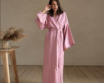 Maxi linen kimono, Wedding robe, Linen loungewear, Long kimono, Natural bathrobe, linen loungewear, Raw Bohemian Cardigan, Sauna robe