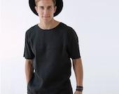 Mens linen t-shirt, Basic t-shirt, Shirt for men, Top Mens Black t-shirt Gift for him, Beach linen shirt, Basic organic t-shirt