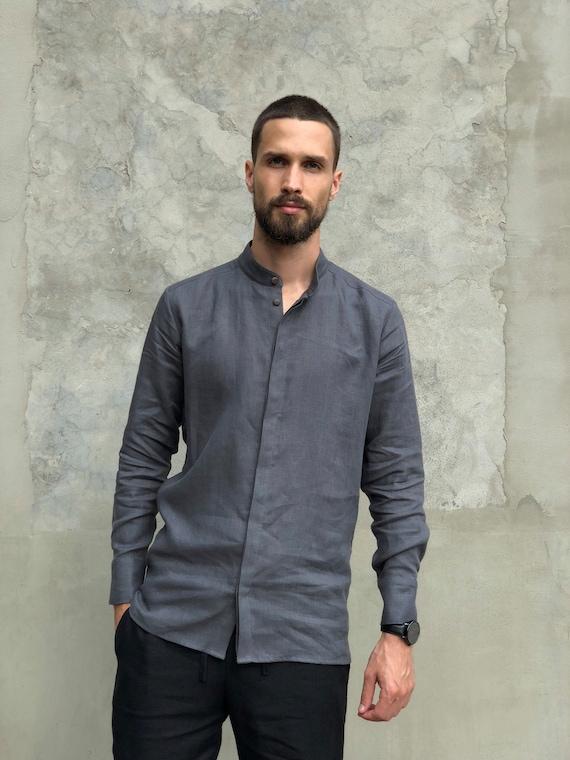 Mens linen handmade Gift shirt him Gray Shirt men shirt shirt shirt Flax shirt sale Dress men's Beach t shirt Classic for for ddTr6q
