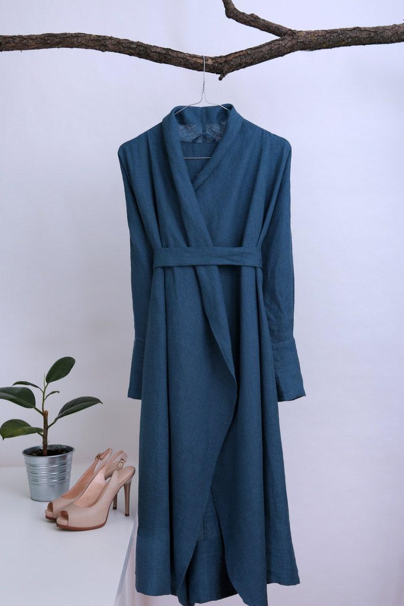 Handmade linen bathrobe Summer gown Natural linen robe Wedding  447b93396