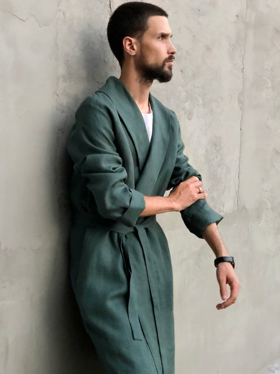clothes for for him Green gown dressing robe Linen Handmade Men size Linen man coat Gift Plus bathrobe Trend color for robe Mens House xIqzSxRwH