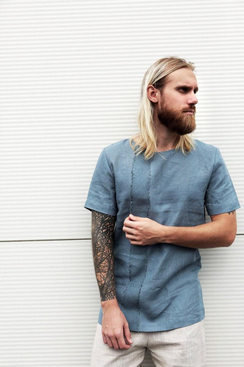4ffa5e0d302 Mens linen t-shirt Summer t-shirt Shirt for men Basic t-shirt
