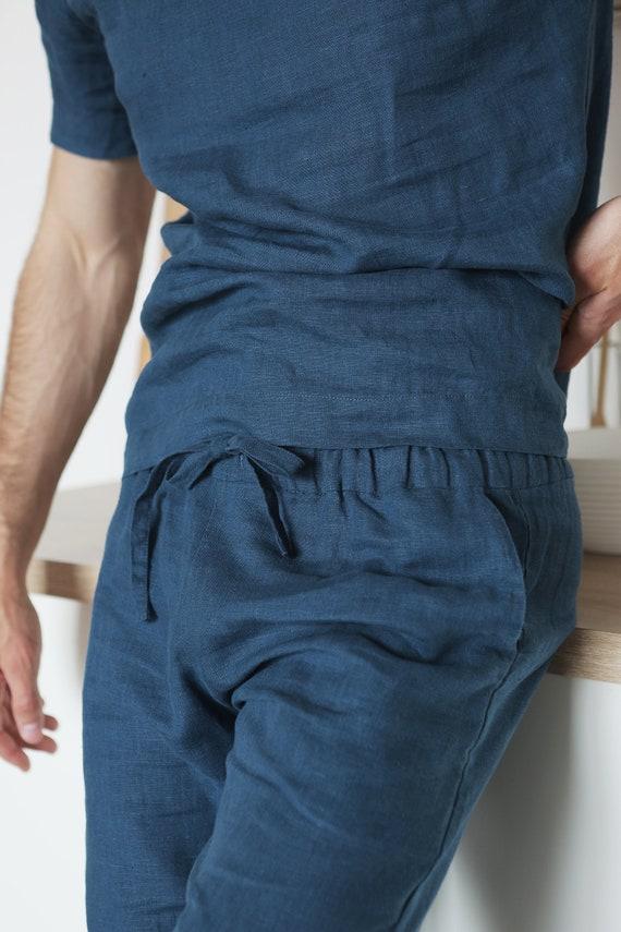 Linen costume Mans Linen Linen men set costume summer Flax Gifts set pants mens for shirt for Linen kit linen men Blue Man's Pants q1q0C