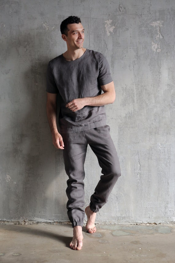 Linen costume Linen Linen kit pants Gifts Linen Flax linen costume summer Grey mens set Man's men Pants set for men shirt for Mans z5Pq0wP