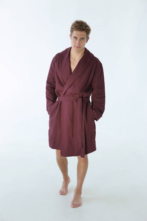 Mens Linen Robe Valentines Day Burgundy Dressing Gown Men Etsy