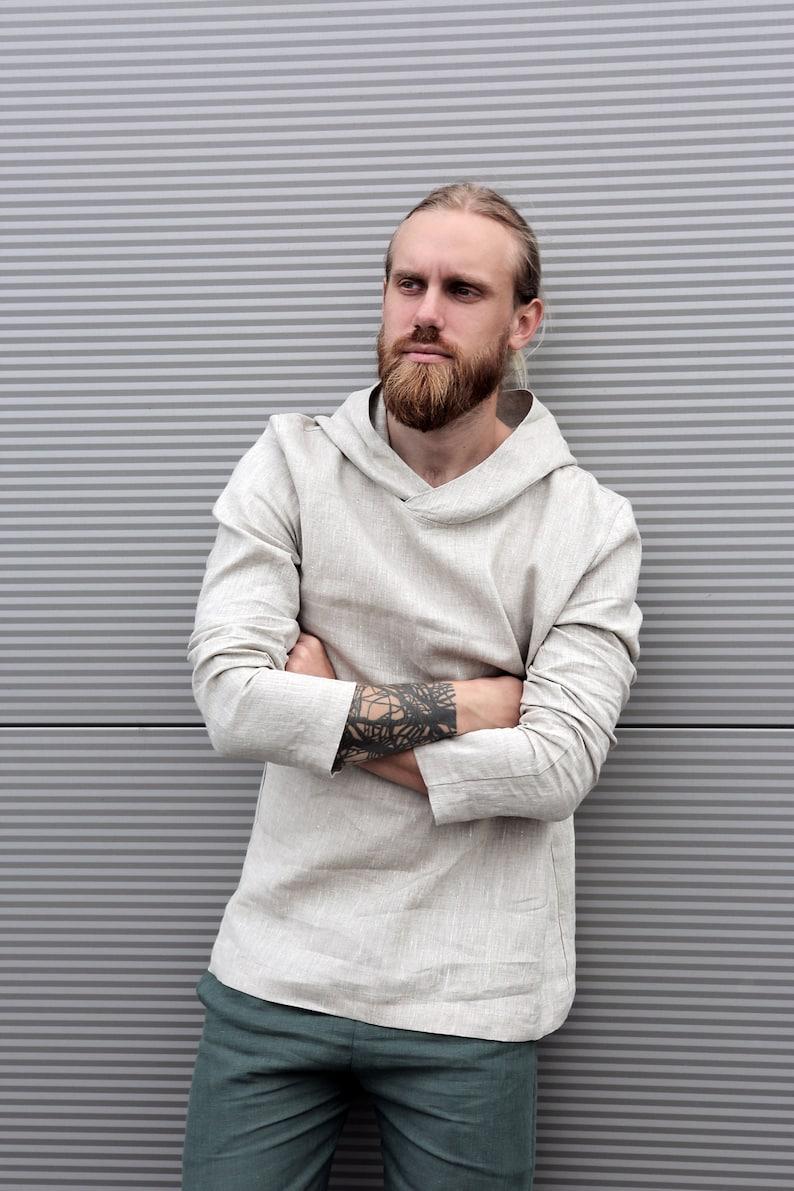 4075f180e2e Mens linen hoodie Summer shirt Linen t-shirt Shirt for men
