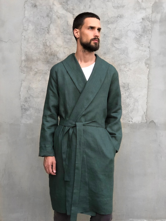 House Plus bathrobe Linen Mens him coat Linen Green for dressing size clothes Gift for for Men man Handmade robe Trend color gown robe 8g6x8waq