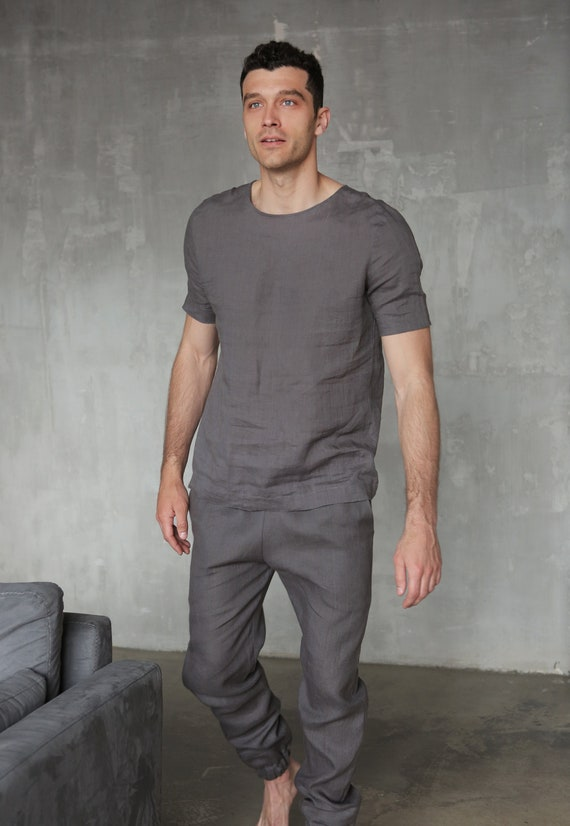 Grey Man's Pants Linen set pants for shirt Flax linen Linen men costume set Mans kit men Gifts costume Linen for mens Linen summer A4XOw