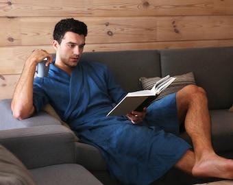 Linen bathrobe, Natural laungewear, Natural linen robe, Homewear, Wedding robe, Gown for men, Mens linen robe, Dressing gown, Gift for him