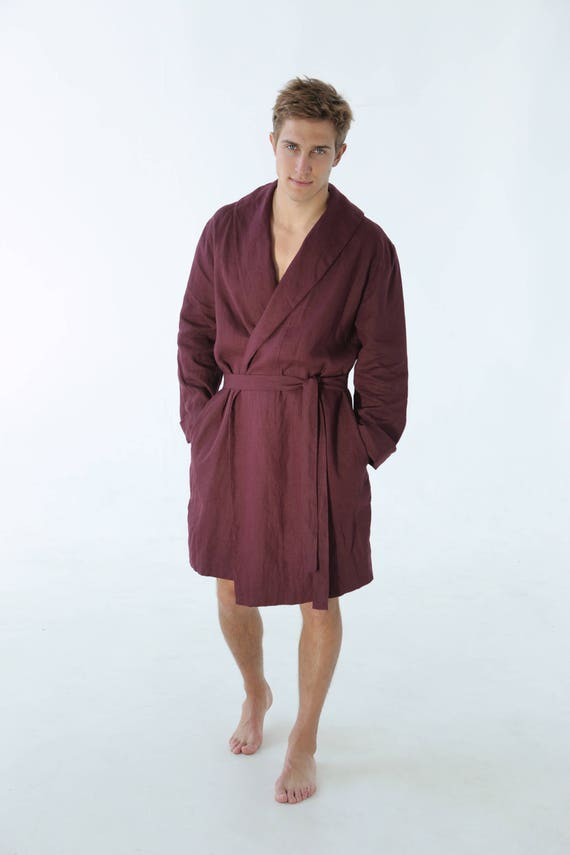 Linen robe. Burgundy dressing gown for men. Natural bathrobe. | Etsy