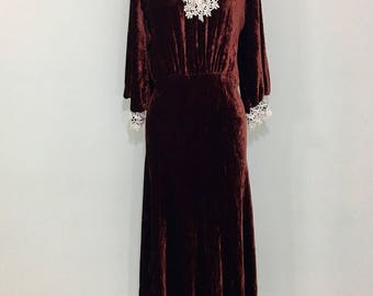 Late 1930s 1940s Burgundy/Bronze Velvet Dress  Large