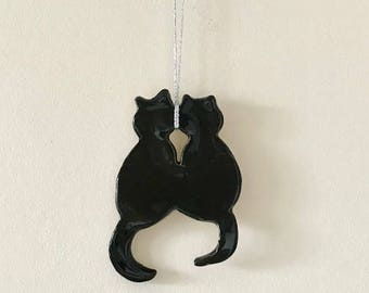 Black Cats Wall Hanging - Ceramic - Cats - Pottery