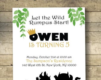 Where The Wild Things Are Birthday Invitation, Wild Rumpus, Max, Digital Download, Black & White