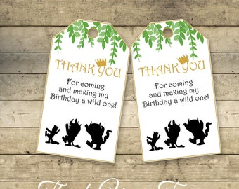 Where The Wild Things Are Thank You Tags, Party Decoration