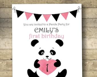 Panda invitation etsy panda birthday invitation panda invitation birthday invitation first birthday 1st birthday girl birthday invitation black and white stopboris Images