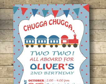 Train Invitation Chugga Chugga Two Two Train Birthday Train Birthday Invitation Choo Choo Boy Birthday Invitation Digital Invitation
