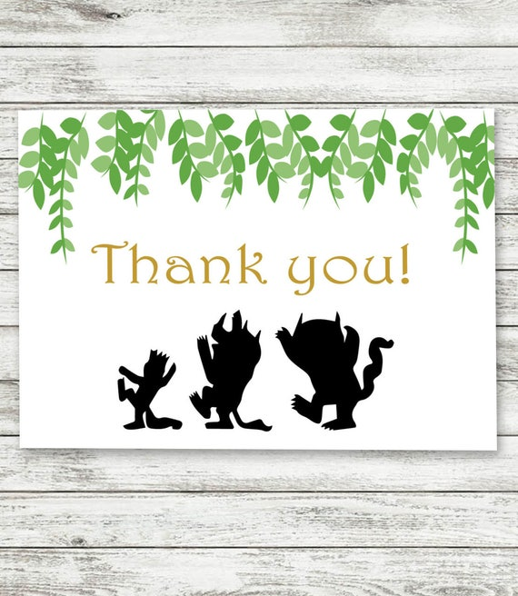 Where The Wild Things Are Thank You Cards Digital Etsy