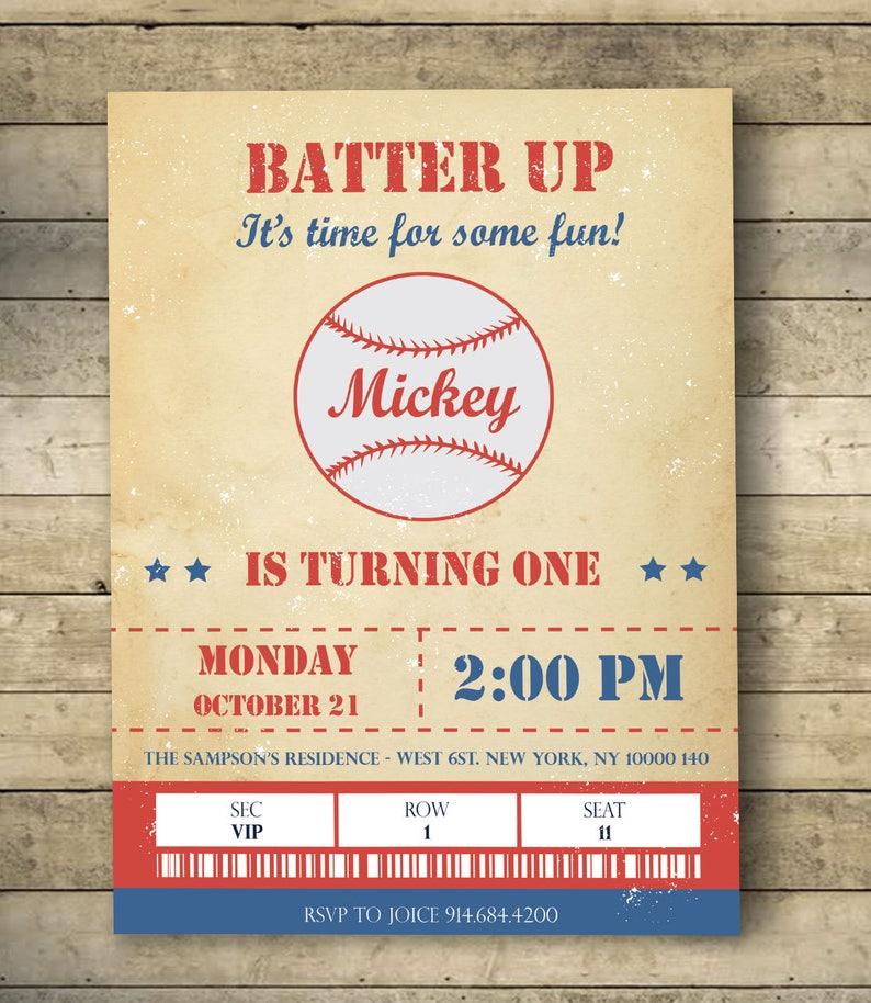 Vintage Baseball Birthday Invitation Party Batter Up Home Run Digital Download