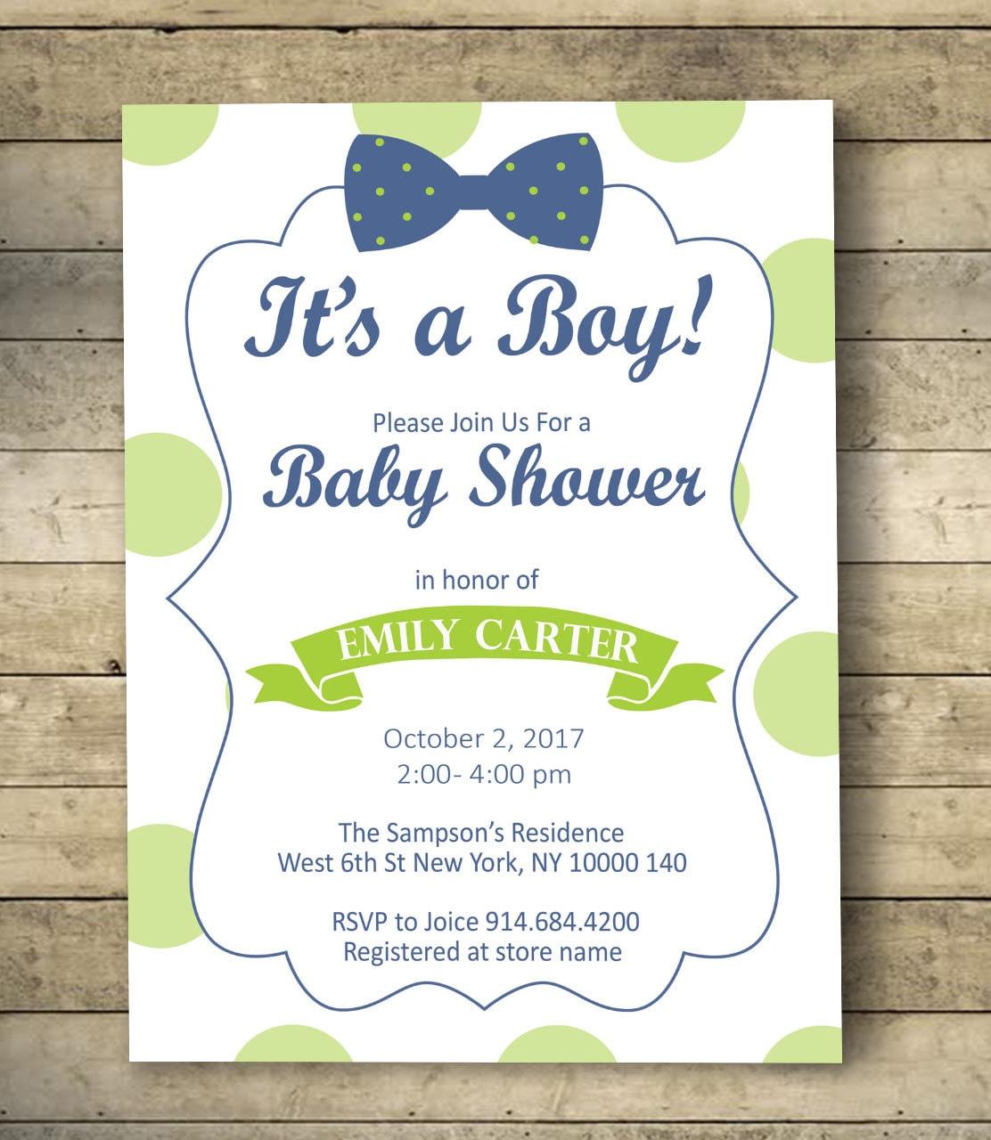 Bow Tie Baby Shower Invitation Boy Baby Shower Invitation   Etsy