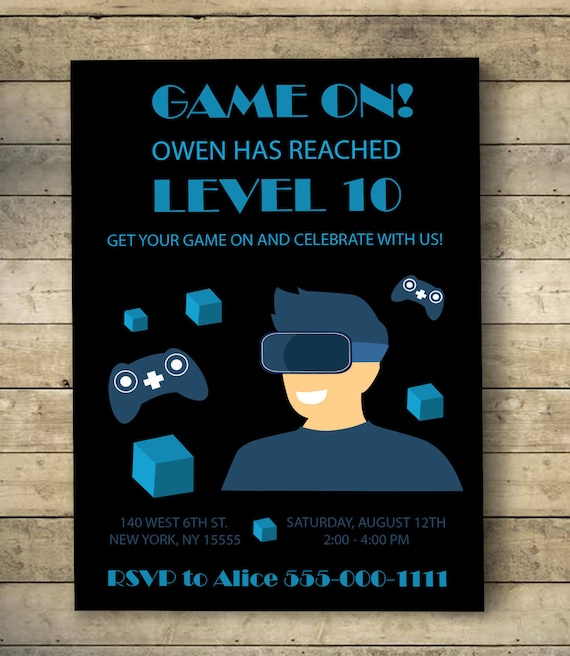 Video game birthday invitation video game birthday party etsy image 0 stopboris Image collections